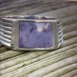 Purple Jade and Sterling Silver Unisex Ring 8